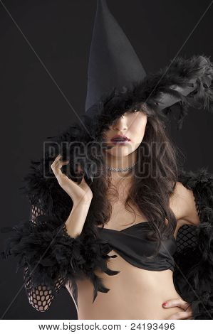 Portrait Of The Young Witch  With Black Hat