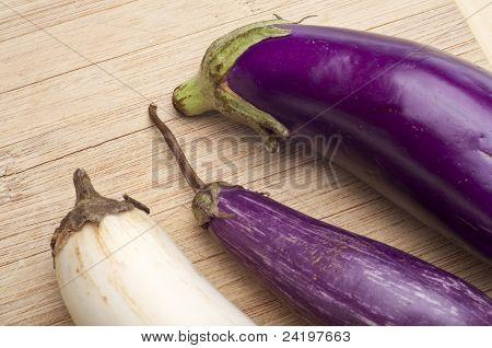 Purple, Sicilian Zebra And Albino White Eggplant Varities