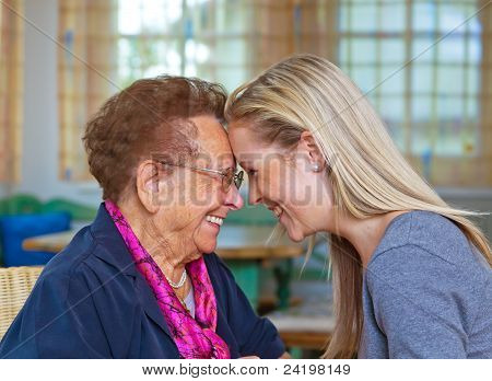 grandchild visits grandmother