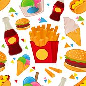 Cute Set Pattern Art With Many Street Fast Food With Different Tasty Dishes. Wallpapers For Design B poster