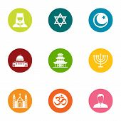 Religion Of The East Icons Set. Flat Set Of 9 Religion Of The East Vector Icons For Web Isolated On  poster