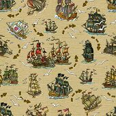 Seamless Background With Old Sailing Ships And Gull On Old Texture. Pirate Adventures, Treasure Hunt poster