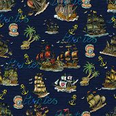 Seamless Pattern With Pirate Adventures Concept, Old Sailboats, Anchor, Lettering And Treasure Islan poster