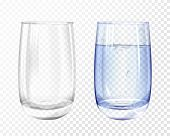 Vector Realistic Glass Empty And Cup With Blue Water On Transparent Background. 3d Glassware For Wat poster