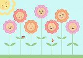 picture of happy birthday  - Vector image of smiling flowers under the sun - JPG