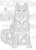 Alaskan Malamute Or Siberian Husky. Eskimo Dog. Coloring Page. Adult Coloring Book Idea. Antistress  poster