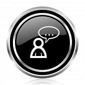 Forum black silver metallic chrome border glossy round web icon poster