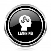 Learning black silver metallic chrome border glossy round web icon poster