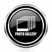 Photo gallery black silver metallic chrome border glossy round web icon poster