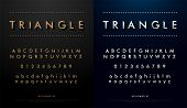 Alphabet Font From Triangle Concept. Technology Alphabet Golden And Silver Metallic And Effect poster