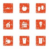 Environmental Pollution Icons Set. Grunge Set Of 9 Environmental Pollution Vector Icons For Web Isol poster