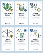 Vector Set Of Mobile App Onboarding Screens. Green Energy Source, Solar Energy, Energy Consumption,  poster