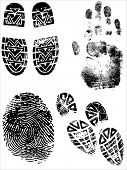 ShoePrints Handprints and Fingerprints - Grouped and on separate layers