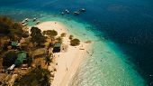 Aerial View Of Tropical Beach On The Island Banana, Philippines. Beautiful Tropical Island With Sand poster