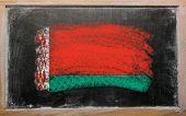 Flag Of Belarus On Blackboard Painted With Chalk