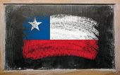 Flag Of Chile On Blackboard Painted With Chalk