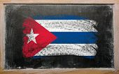 Flag Of Cuba On Blackboard Painted With Chalk