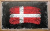 Flag Of Denmark On Blackboard Painted With Chalk