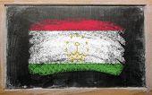 Flag Of Tajikistan On Blackboard Painted With Chalk