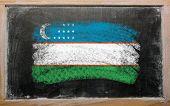 Flag Of Uzbekistan On Blackboard Painted With Chalk