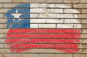 Flag Of Chile On Grunge Brick Wall Painted With Chalk