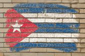 Flag Of Cuba On Grunge Brick Wall Painted With Chalk