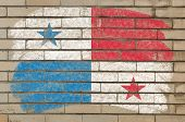 Flag Of Panama On Grunge Brick Wall Painted With Chalk