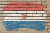 Flag Of Paraguay On Grunge Brick Wall Painted With Chalk