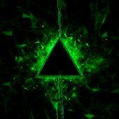 Rendering Energy Triangle Hologram On Black Background. Energy Stream Hologram 3d Render 3d Illustra poster