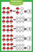 Mathematics Worksheet. Educational Game For Children. Learning Counting. Subtraction For Kids And To poster