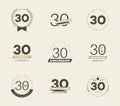 30 Years Anniversary Logo Set. 30th Anniversary Icons. Vector Illustration. poster