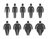 Thin, Normal, Fat Overweight Body Stick Figures. Different Proportions Of People Bodies. Obese Class poster