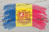 Flag Of Andora On Grunge Wooden Texture Painted With Chalk