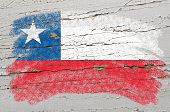 Flag Of Chile On Grunge Wooden Texture Painted With Chalk