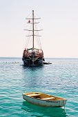 stock photo of suny  - photo of two ships on the sea taken in turkey on suny day