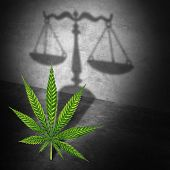 Legal Marijuana Law Concept As A Cannabis Leaf Casting A Shadow Of A Justice Scale As A Medicinal Or poster