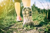 Walking Or Running Exercise, Legs On Footpath In Forest, Achievement Fitness Adventure And Exercisin poster