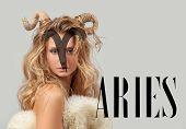 Постер, плакат: Astrology Woman Aries Zodiac Sign