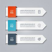 Infographic Arrow Template. Vector Banner Of 3 Options, Steps, Parts. Can Be Used For Diagram, Graph poster