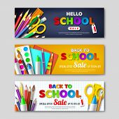 Back To School Sale Horizontal Banners With 3d Realistic School Supplies And Paper Cut Style Letters poster