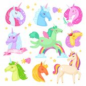 Unicorn Vector Cartoon Kids Character Of Girlish Horse With Horn And Colorful Ponytail In Love Illus poster