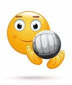 Cheerful Smiley Catches The Ball. Emoticon Playing Volleyball. Emoji With Ball For Playing Volleybal poster