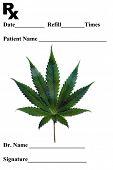 Prescription pad. Medical Marijuana Prescription Pad. Marijuana Leaf on a Prescription pad for medic poster