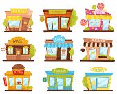 Set Of Small City Stores In Cartoon Style. Candy Shop, Pharmacy, Fast Food Restaurant, Cafe. Facades poster