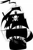 stock photo of pirate ship  - silhouette of a pirate ship with the image of a skeleton on the sail - JPG