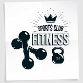 Cross Fit Motivation Vector Poster Made Using Two Dumbbells Crossed And Kettle Bell Sport Fitness Eq poster