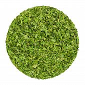 Dried Parsley. Herb Circle From Above, Isolated, Over White. Disc Made Of Chopped Garden Parsley, Al poster