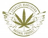 Vector Banner For Legalize Marijuana With Cannabis Leaf And Wings Isolated On White Background. Natu poster