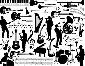 stock photo of musical instrument string  - A page made of musicians and musical instruments - JPG