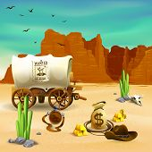 Wild West Composition With Cowboy Accessories, Wagon With Wanted Poster On Red Rocks Background Vect poster